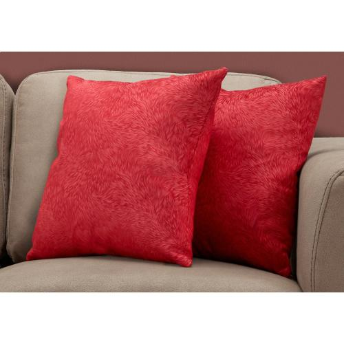"""Gallery - PILLOW - 18""""X 18"""" / RED FEATHERED VELVET / 2PCS"""