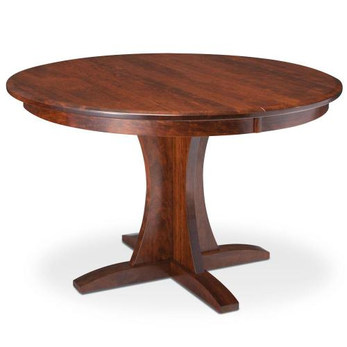 """Simply Amish - Grace Single Pedestal Table, 48"""" Round (Max 3 Leaves) / 18"""" Sliding Butterfly Leaf"""