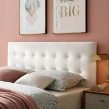 Emily King Biscuit Tufted Performance Velvet Headboard in White