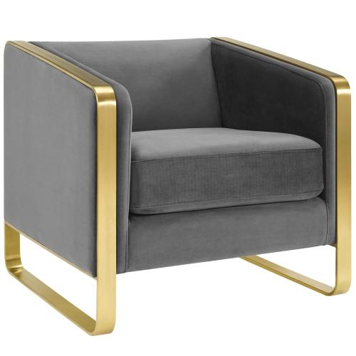 Modway - Visualize Accent Club Lounge Performance Velvet Armchair in Gray
