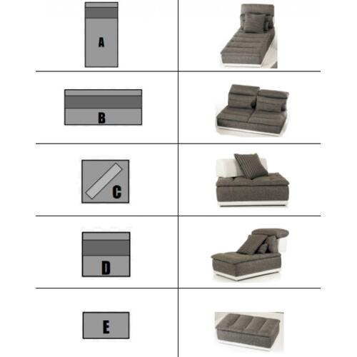 David Ferrari Panorama Italian Modern Grey Fabric & White Leather Configurable Sectional Sofa