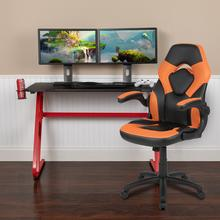 Red Gaming Desk and Orange\/Black Racing Chair Set with Cup Holder and Headphone Hook
