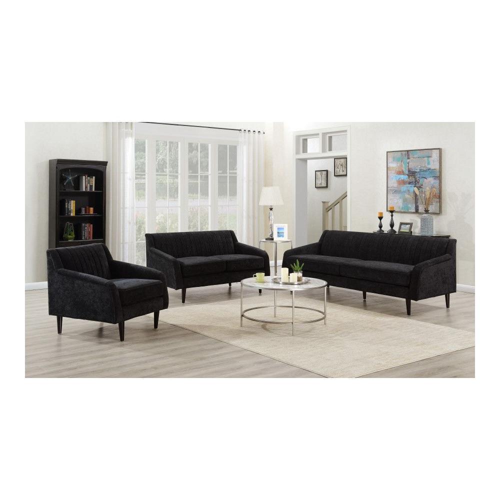 Betty Black Sofa, Loveseat & Chair, U7451