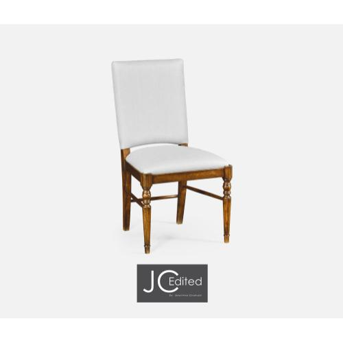 Country Walnut Side Chair, Upholstered in COM