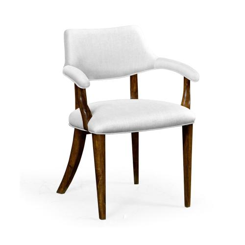 Walnut Library Armchair, Upholstered in COM