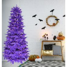 Haunted Hill Farm 6.5-Ft. Spooky Purple PVC Tree with Warm White LED Lighting, HH065PVCTREE-5PUR