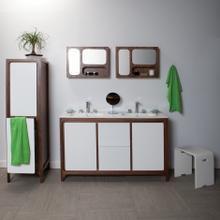 """Free-standing under-counter double vanity with 2 doors and 2 drawers . W: 55"""", D: 17 5/8"""", H: 34""""."""