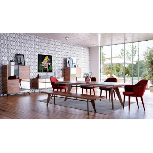 Modrest Kennedy Modern Walnut Dining Table