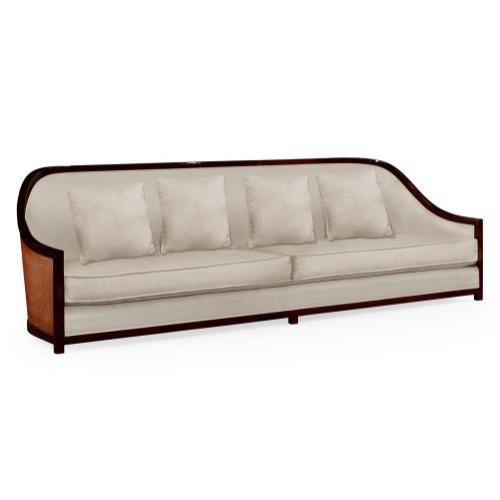"""110"""" Sofa in Sonokelling & Rattan, Upholstered in MAZO"""