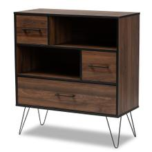 See Details - Baxton Studio Charis Modern and Transitional Two-Tone Walnut Brown and Black Finished Wood 1-Drawer Bookcase