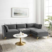 Ardent 4-Piece Performance Velvet Sectional Sofa in Gray
