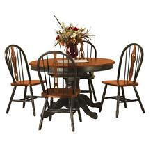 DLU-TBX4866-124S-BCH5PC  5 Piece Pedestal Butterfly Leaf Dining Set  Keyhole Chairs