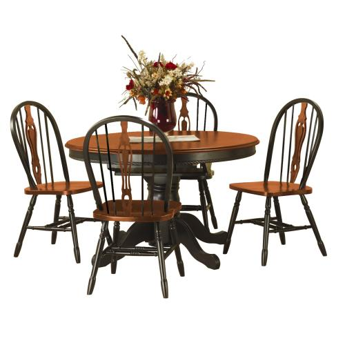 Pedestal Butterfly Leaf Dining Set w/Keyhole Chairs (5 Piece)