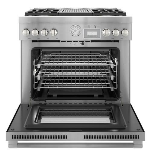 Dual Fuel Professional Range 36'' Pro Grand® Commercial Depth Stainless Steel PRD364WLGU