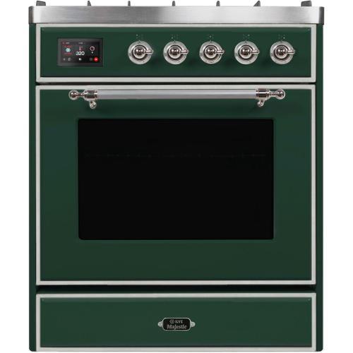 Ilve - Majestic II 30 Inch Dual Fuel Liquid Propane Freestanding Range in Emerald Green with Chrome Trim
