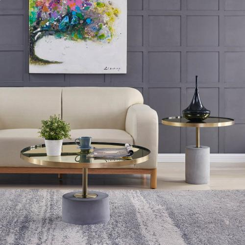 Product Image - Andrea KD Side/ End Table Glass Top with Concrete Base, Mirror/ Brushed Gold