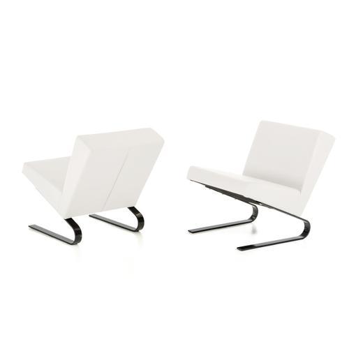 Divani Casa Relax - White Leatherette Retro Lounge Chair