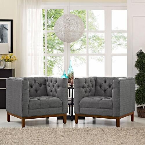 Panache Living Room Set Upholstered Fabric Set of 2 in Gray