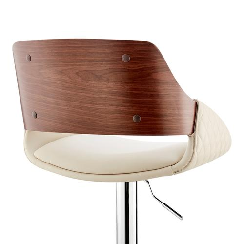 Armen Living - Colby Adjustable Cream Faux Leather and Chrome Finish Bar Stool