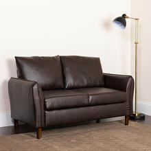 See Details - Milton Park Upholstered Plush Pillow Back Loveseat in Brown LeatherSoft
