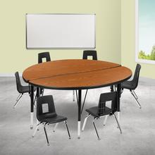 """47.5"""" Circle Wave Collaborative Laminate Activity Table Set with 12"""" Student Stack Chairs, Oak\/Black"""