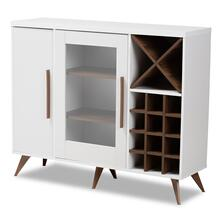 See Details - Baxton Studio Pietro Mid-Century Modern White and Brown Finished Wine Cabinet