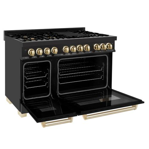 """Zline Kitchen and Bath - ZLINE Autograph Edition 48"""" 6.0 cu. ft. Dual Fuel Range with Gas Stove and Electric Oven in Black Stainless Steel with Accents (RABZ-48) [Accent: Gold]"""