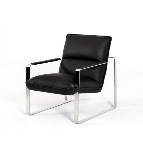 Divani Casa Dunn Modern Black Leather Lounge Chair
