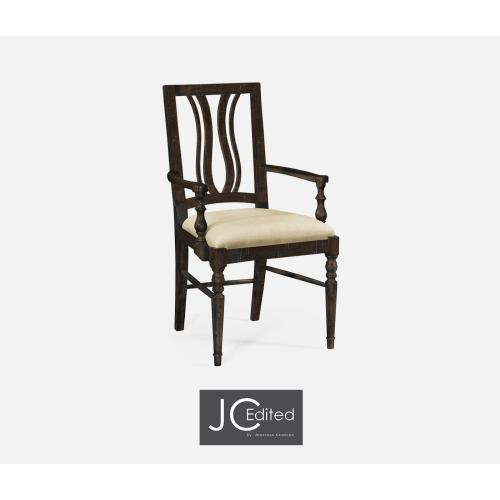 Dark Ale Curved Back Dining Armchair, Upholstered in MAZO
