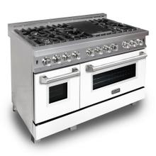 """ZLINE 48"""" DuraSnow® Stainless Steel 6.0 cu.ft. 7 Gas Burner/Electric Oven Range with Color Door Options (RAS-SN-48) [Color: White Matte]"""