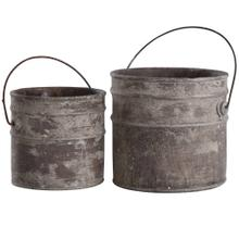 Onley Gray  8in & 9in Ht Set of 2 Concrete Accessory Buckets with Metal Handles
