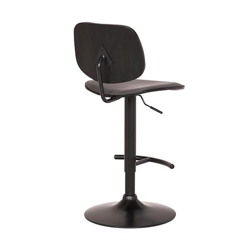 Nancy Adjustable Gray Faux Leather Swivel Barstool in Black Powder Coated Finish