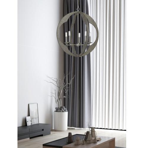 40W X 5 Portici Wood Pendant Fixture (Edison Bulbs Not included)
