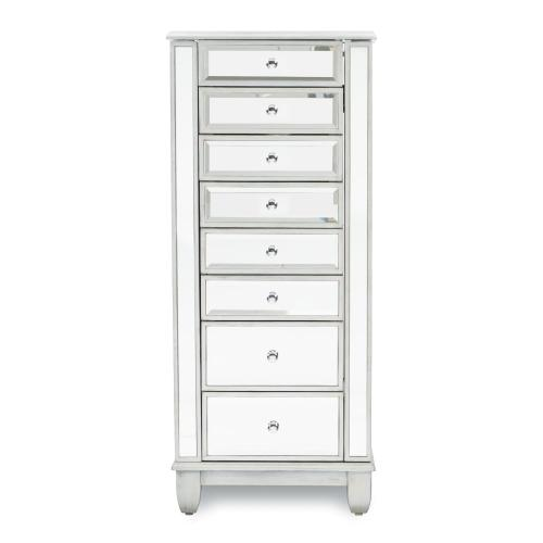 8-drawer Mirrored Jewelry Armoire, Silver