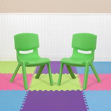 2 Pack Green Plastic Stackable School Chair with 10.5'' Seat Height