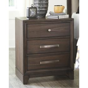 Brueban Three Drawer Night Stand Gray