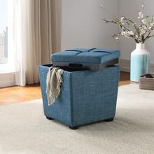 Rockford Storage Ottoman In Blue