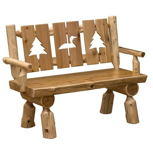 Cut-out Bench with back and arms - 48-inch - Natural Cedar - Wood Seat
