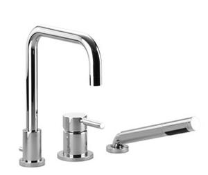 Three-hole single-lever tub mixer for deck-mounted tub installation - chrome Product Image