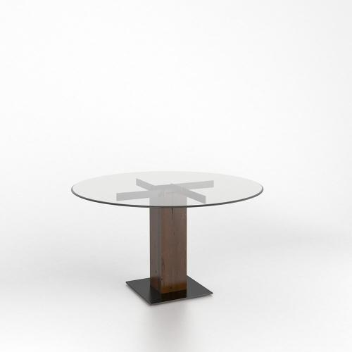 Gallery - Rectangular glass table with pedestal