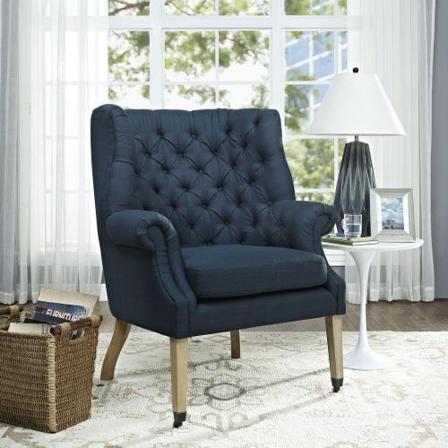 Chart Upholstered Fabric Lounge Chair in Azure