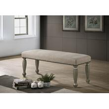 Breda Antique Gray Finish Upholstered Nailhead Bench