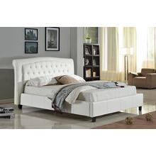 7519 WHITE PU Platform Bed - QUEEN