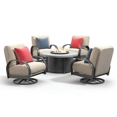"""42"""" Round Dining Fire Table Ht: 27.5"""" Valero Aluminum Base (Indicate Top, Frame, & Side Panel Color)"""