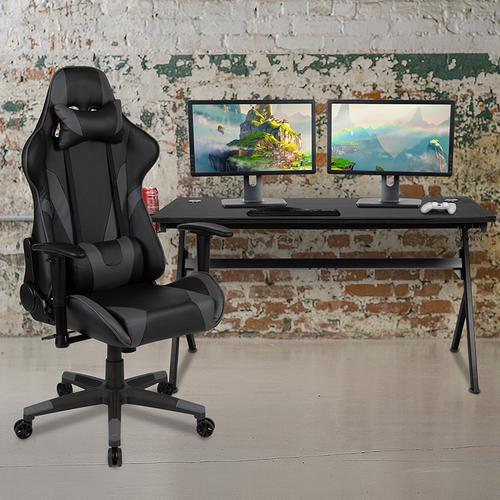 Gallery - Gaming Desk and Gray\/Black Reclining Gaming Chair Set \/Cup Holder\/Headphone Hook\/Removable Mouse Pad Top - Wire Management