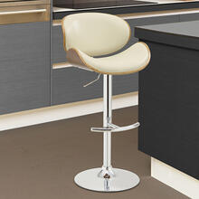 Armen Living Naples Swivel Barstool in Chrome finish with Cream Faux Leather and Walnut Veneer Back