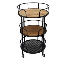 Metal 3-tier Round Bar Cart, Brown/black