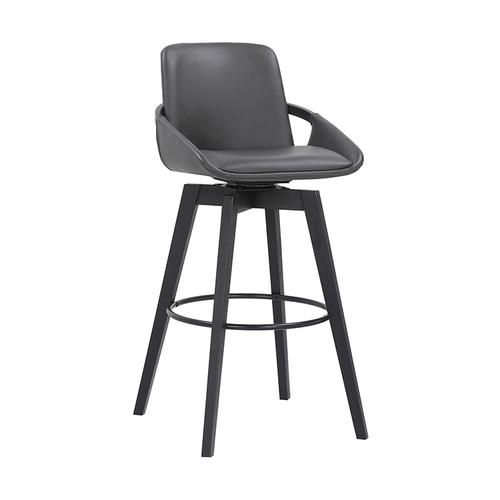 """Baylor 30"""" Bar Height Swivel Barstool with Black Finish and Gray Faux Leather"""