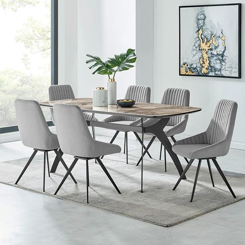 Armen Living - Alison Swivel Gray Velvet and Metal Dining Room Chairs - Set of 2