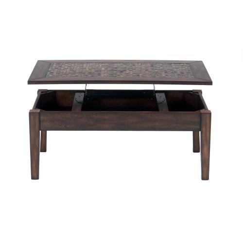 Baroque Brown Lift Top Cocktail Table With Mosaic Tile Inlay